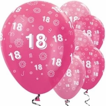 18th Birthday Pink Mix Flowers Latex Balloons