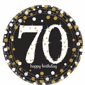 70th Birthday Party Plates Gold & Silver