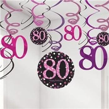 80th Birthday Party Hanging Swirls Pink Mix