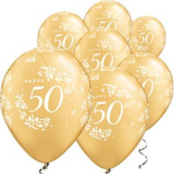 Gold Damask 50th Anniversary Balloons