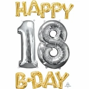 18th Birthday Gold & Silver Foil Balloons