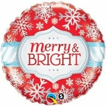 """Merry And Bright Snowflakes Round Shape 18"""" Foil Balloon"""