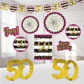50th Gold And Pink Milestone Decorating Kit