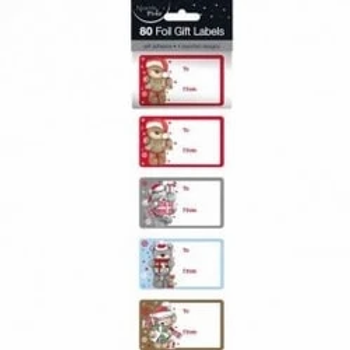 Christmas Teddy Bears Foil Gift Labels