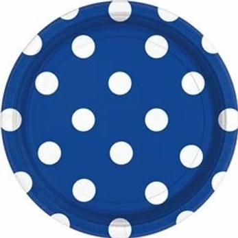Royal Blue Polka Dot Paper Plates