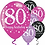 80th Birthday Pink Mix Party Balloons
