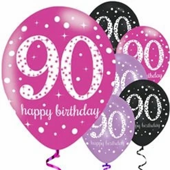 90th Birthday Party Balloons Pink Mix