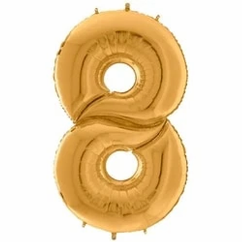"64"" Foil Number 8 Balloon Gold"