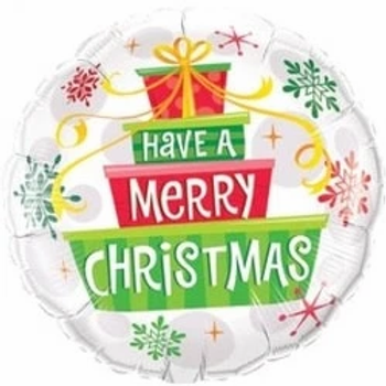 """Have A Merry Christmas Gifts And Snowflakes Round Shape 18"""" Foil Balloon"""