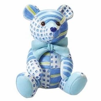 Patchwork Teddy Cake Topper Figure Blue