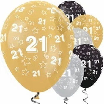 21st Birthday Gold Mix Stars Balloons