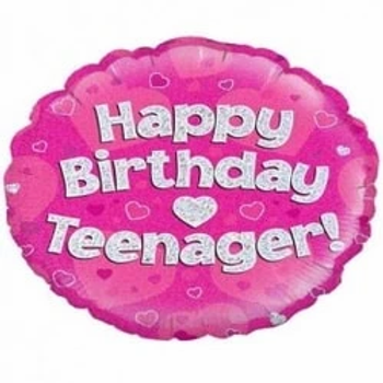 Happy Birthday Teenager Foil Balloon Pink