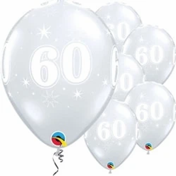 60th Diamond Clear Party Balloons