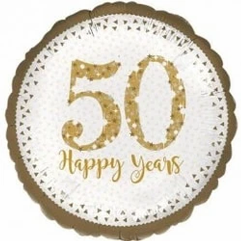 """50 Happy Years Round Shape 18""""  Foil Balloon"""