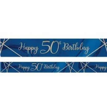 50th Happy Birthday Navy And Gold Banner