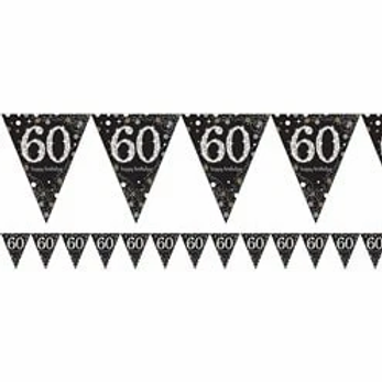 Happy 60th Birthday Prismatic Foil Bunting Gold & Silver