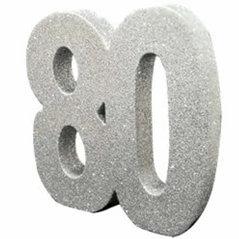 80th Birthday Silver Number Centrepiece