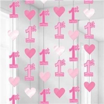 1st Birthday Hanging String Decorations Pink