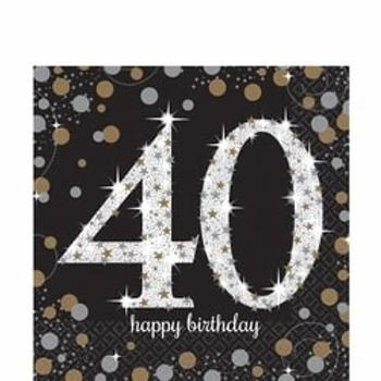40th Birthday Gold Celebration Party Napkins