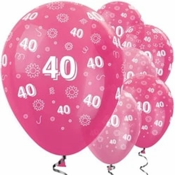 40th Birthday Pink Mix Flowers Latex Balloons