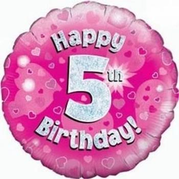 "Happy 5th Birthday 18"" Foil Balloon Pink"