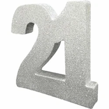 21st Silver Table Centrepiece Number
