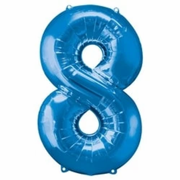 "Blue 34"" Foil Number 8 Balloon"