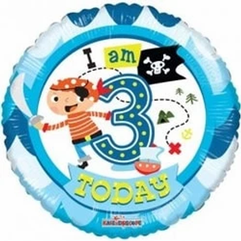 """I Am 3 Today Pirate 18"""" Foil Balloon"""