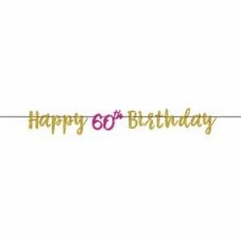 Happy 60th Birthday Glitter Letter Banner