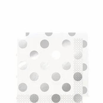 Silver Dot Party Napkins