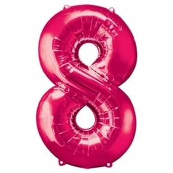"Pink 34"" Foil Number 8 Balloon"