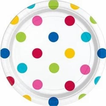 Polka Dot Paper Plates Rainbow