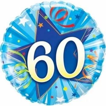60th Blue Shining Star Foil Balloon