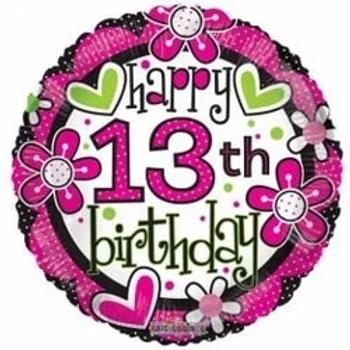 "Happy 13th Birthday Girl 18"" Foil Balloon"