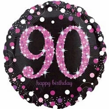 90th Birthday Party Foil Balloon Pink