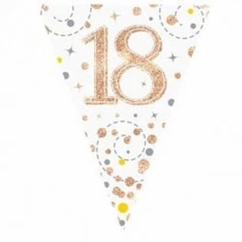 Happy 18th Birthday Rose Gold Party Flag Bunting