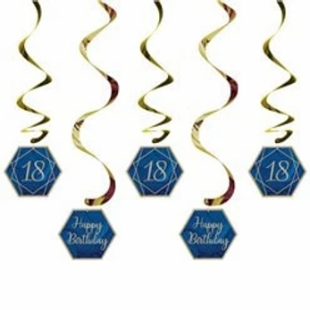 18th Navy And Gold Birthday Hanging Swirls