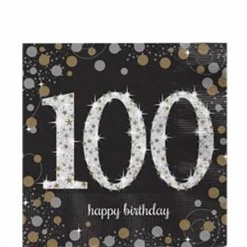 100th Birthday Party Napkins Gold