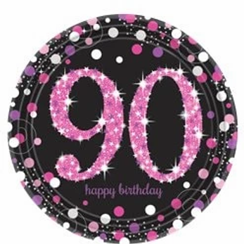 90th Birthday Pink Party Plates