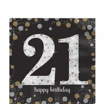 21st Gold Celebration Paper Napkins