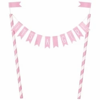 Baby Shower Bunting Cake Topper Pink