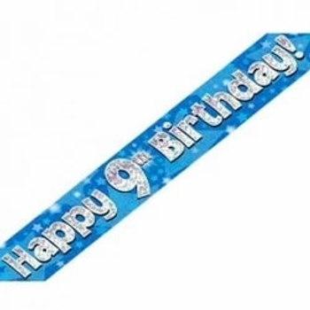Happy 9th Birthday Party Banner Blue