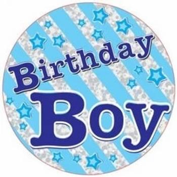 Birthday Boy Blue Giant Party Badge