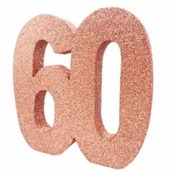 60th Number Party Table Centrepiece Rose Gold