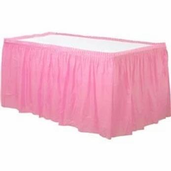Pink Plastic Tableskirt