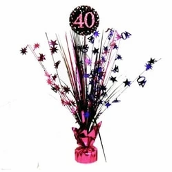 40th Birthday Foil Pink Table Spray Centrepiece