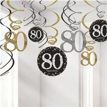 80th Birthday Party Hanging Swirls Gold Mix