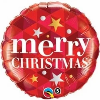 "Merry Christmas Stars Red Round Shape 18"" Foil Balloon"