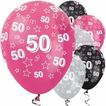 50th Birthday Pink Mix Stars Latex Party Balloons