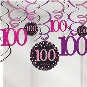 100th Birthday Party Hanging Swirls Pink